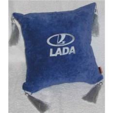 Синяя подушка с серебряными кистями Lada