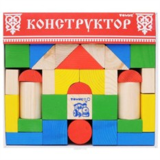 Деревянный конструктор Цветной (43 детали)