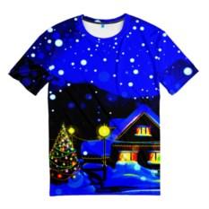 Мужская футболка 3D Новогодняя ночь