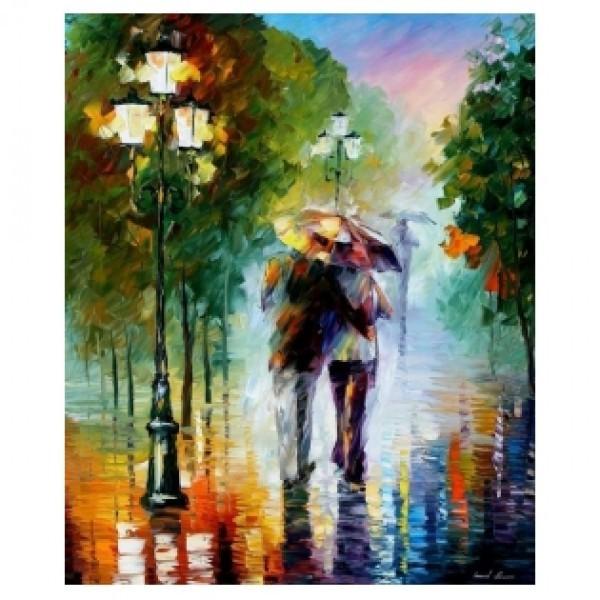 Картина-раскраска по номерам на холсте Под зонтом