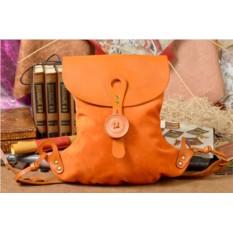 Женский оранжевый кожаный рюкзак ручной работы LUNA