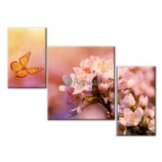 Модульная картина «Бабочка и цветок» 60×45 см