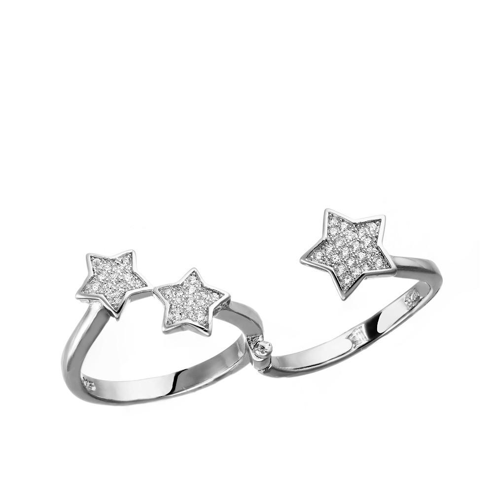 Серебряное кольцо-трансформер с фионитами на два пальца