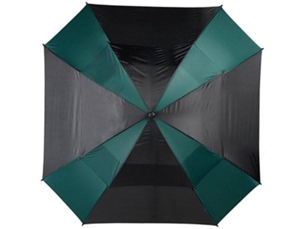 Зонт-трость с двойным куполом черно-зеленого цвета