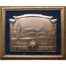 Картина из металла с видом Москвы Кремлёвская набережная