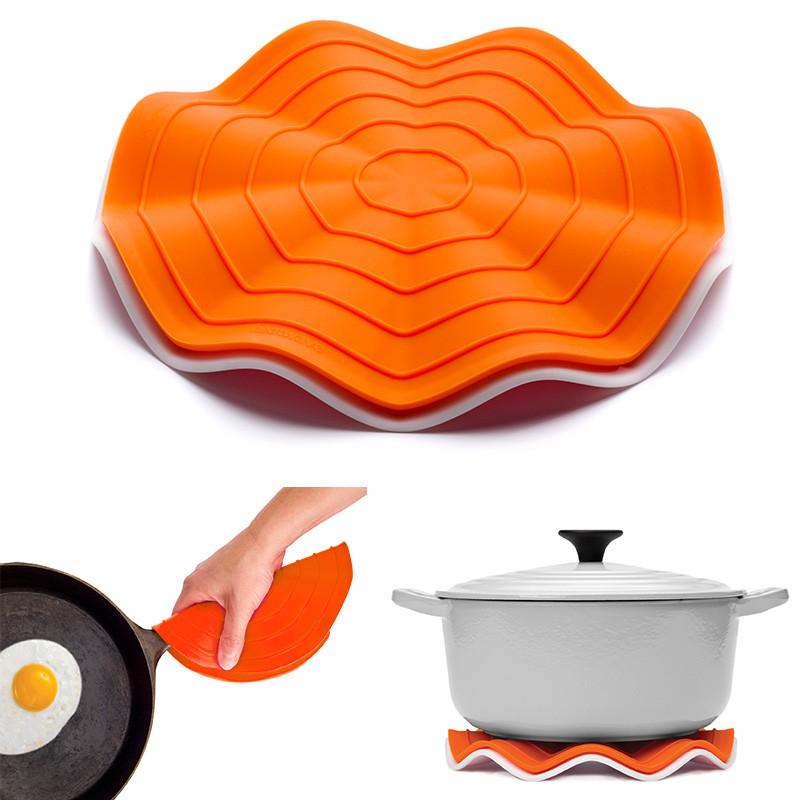 Прихватка-подставка под горячее Wave, оранжевая/белая