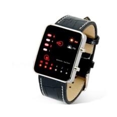 Часы LED Binary на кожанном ремне