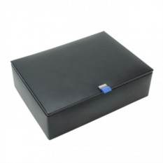 Черная кожаная шкатулка для 8 часов LC Designs