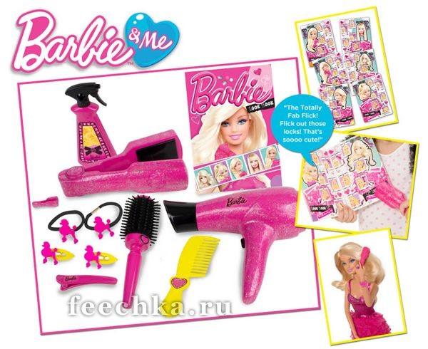Игровой набор Barbie для ухода за волосами + журнал
