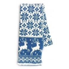 Шерстяной шарф с оленями и снежинками