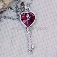 Кулон с розовым кристаллом Сваровски Ключ
