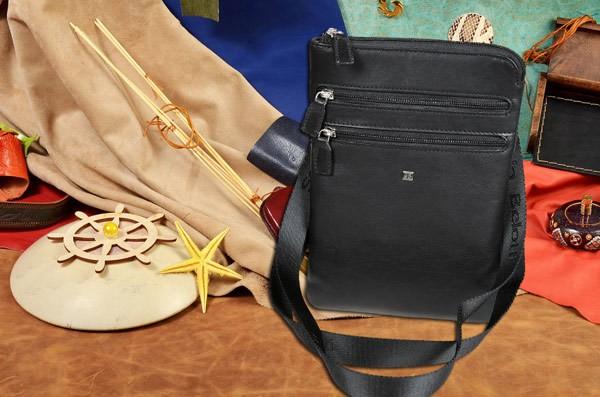 Черная кожаная сумка-планшет коллекции Sergio Belotti