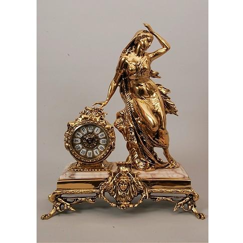 Часы каминные бронзовые Дама