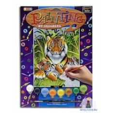 Картина по номерам с акриловыми красками «Тигры»