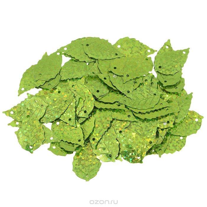 Пайетки Астра (листочки), с голограммой, светло-зеленые (50105)