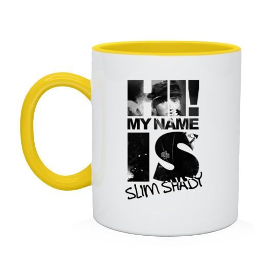 Двухцветная кружка Hi. My name is slim shady