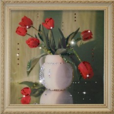 Картина с кристаллами Swarovski Тюльпаны
