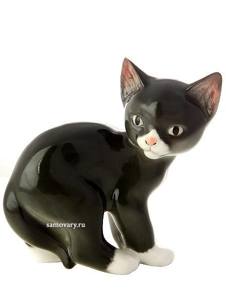 Фарфоровая скульптура Кошка черная
