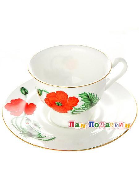 Чайная чашка с блюдцем Кардинал