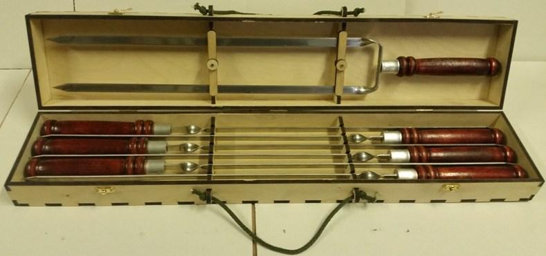 Набор профессиональных шампуров 620х13х2,5 мм.(6 шт+двойной)