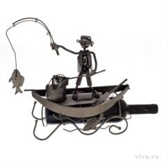 Держатель для бутылок «Рыбак с рыбой в лодке»