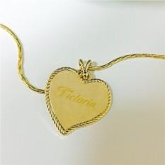 Кулон с гравировкой Золотое сердце на цепочке