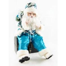 Новогодняя игрушка Санта Клаус (цвет: голубой, 41 см)