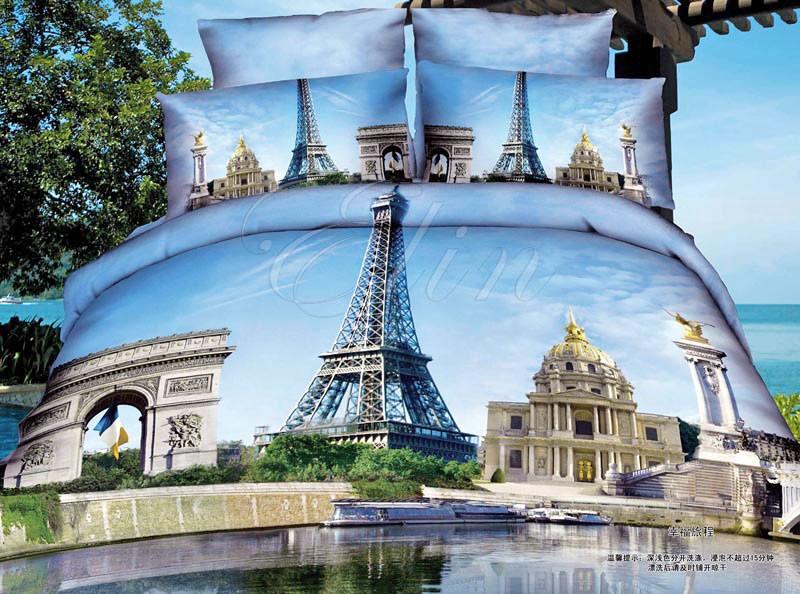 Сатиновое постельное белье Эйфелева башня (Elin)