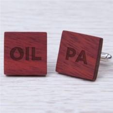 Деревянные запонки OIL с гравировкой
