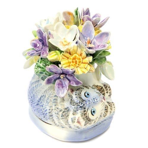 Статуэтка Кот с первоцветами