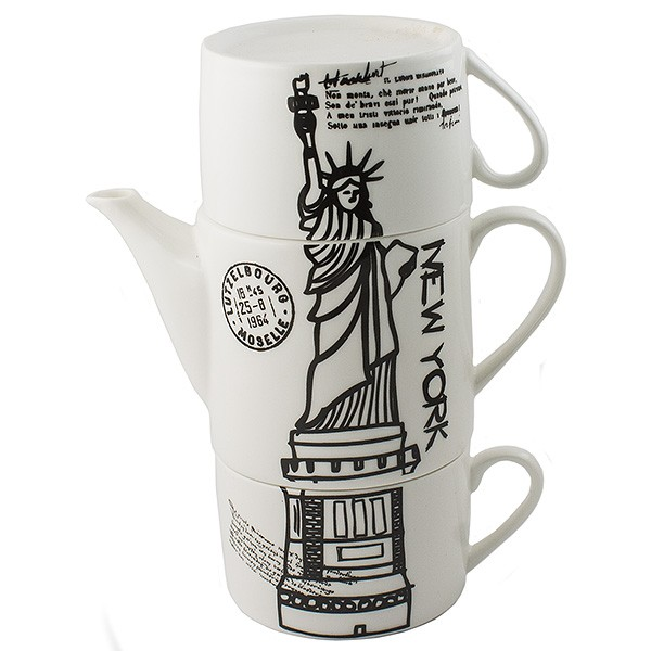 Чайник с двумя кружками Нью-Йорк