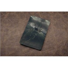 Кожаная обложка для паспорта Морское чудовище (белый)