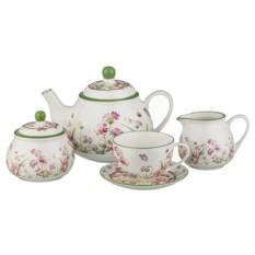 Бело-зелёный чайный сервиз на 6 персон из 15 предметов