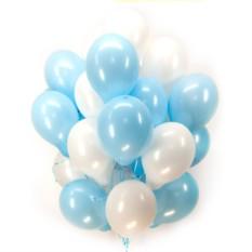 Букет из 100 шаров Бело-голубые шарики