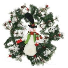 Новогодняя композиция Венок со снеговиком