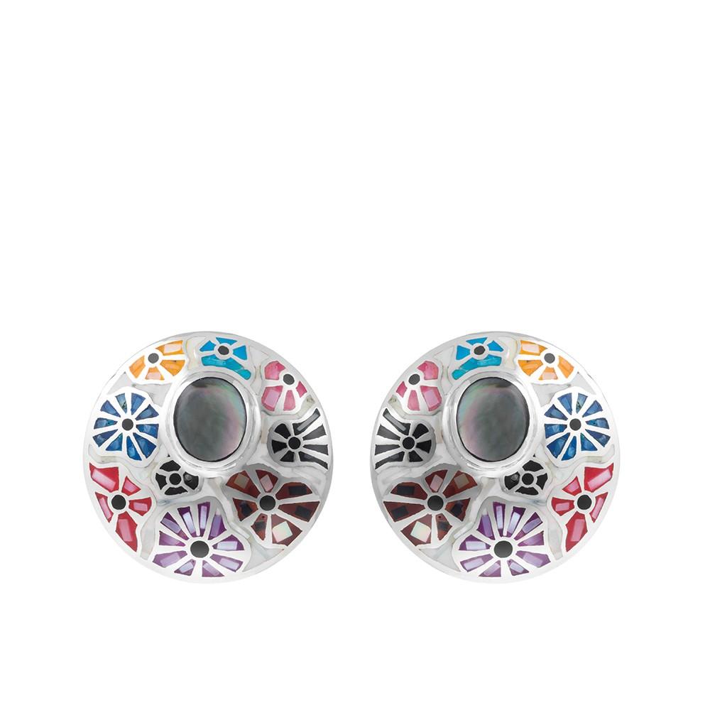 Круглые серьги из серебра с рисунком из перламутра и эмали