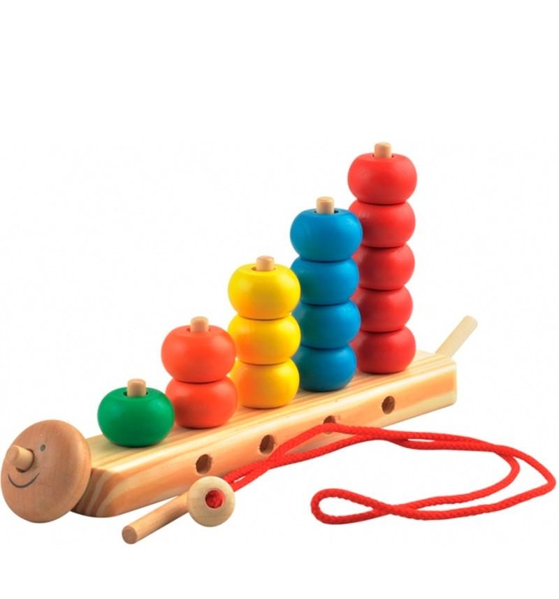 Развивающая игрушка I'm Toy Гусеница, пирамидка-шнуровка