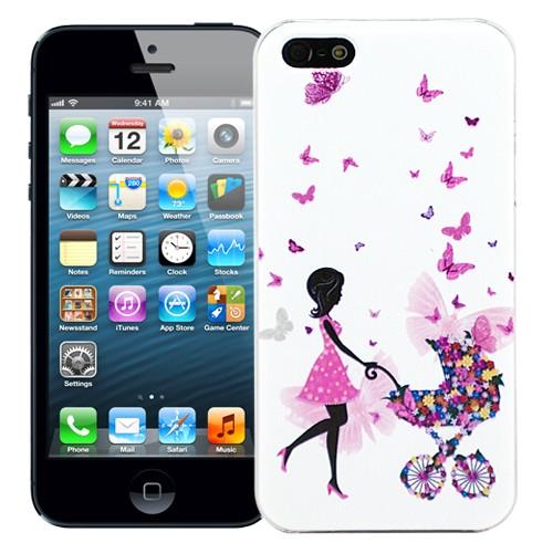 Чехол для iPhone 5/5S Butterflies - Girl & bicycle
