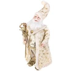 Украшение Дед Мороз с посохом в золотистом костюме