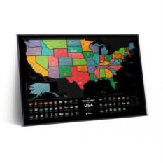 Черная скретч карта The Travel Map of the USA