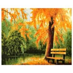 Картина-раскраска по номерам на холсте Осень золотая
