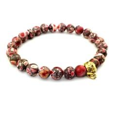 Мужской браслет из красного камня с черепом