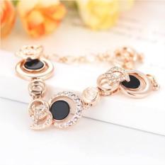 Браслет «Фортуна» с черной эмалью и кристаллами