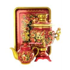 Набор для чаепития Птица, рябина, цветы на красном фоне