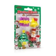 Ластики-пазлы на блистере Дед мороз