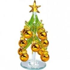 Стеклянная елка на зеркальной подставке с шариками