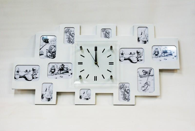 Настенные часы-фоторамка Большая семья XL, белые