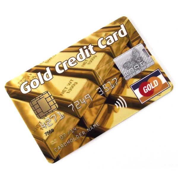 Флешка кредитка Gold Credit Card 4GB слитки
