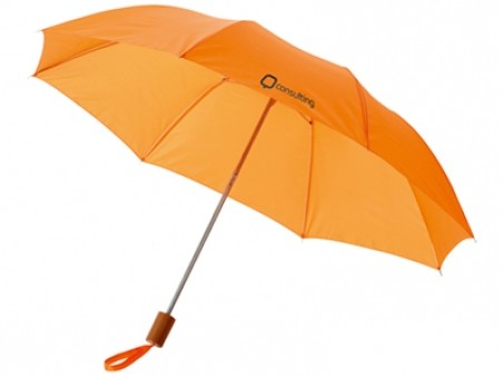 Оранжевый складной механический двухсекционный зонт