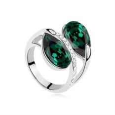 Кольцо с зелеными кристаллами Сваровски «Дуэт»